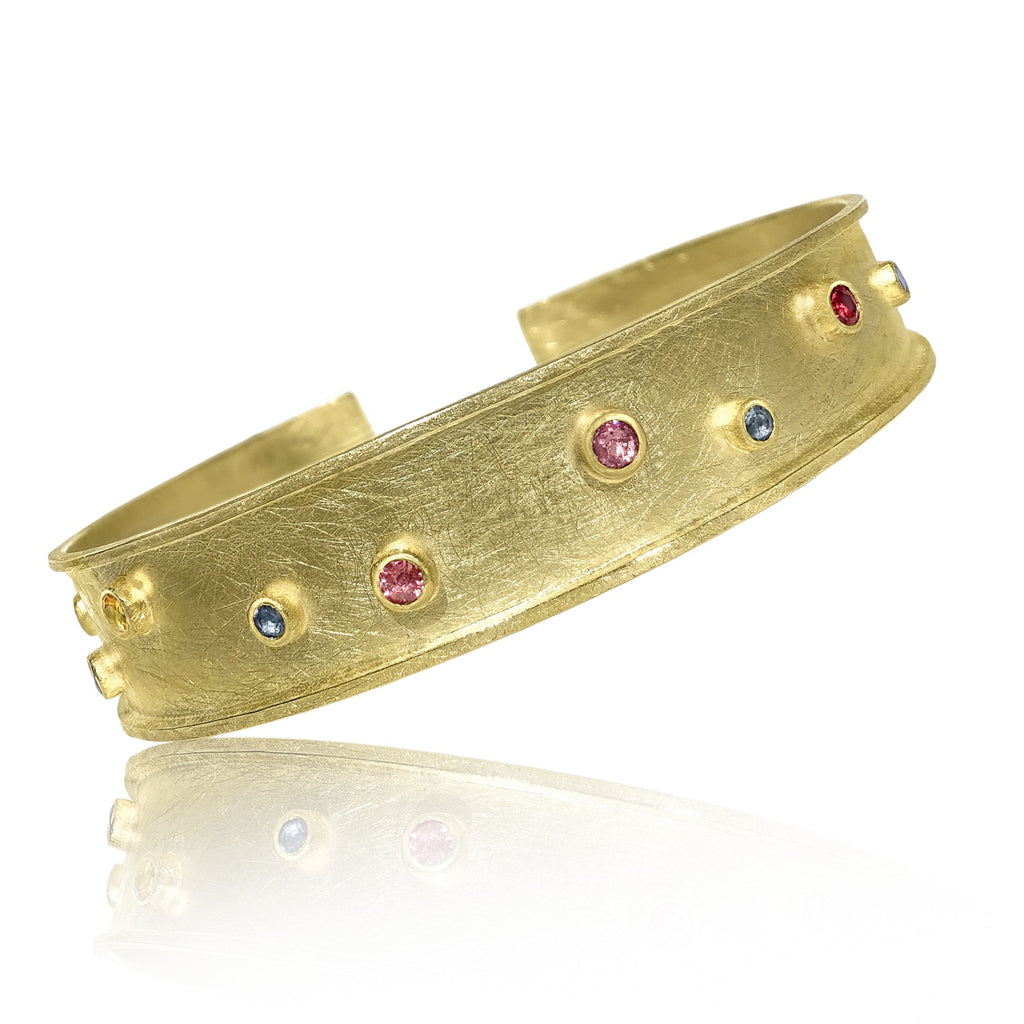 Petra Class Multicolored Sapphire One of a Kind Cuff Bracelet - Szor Collections