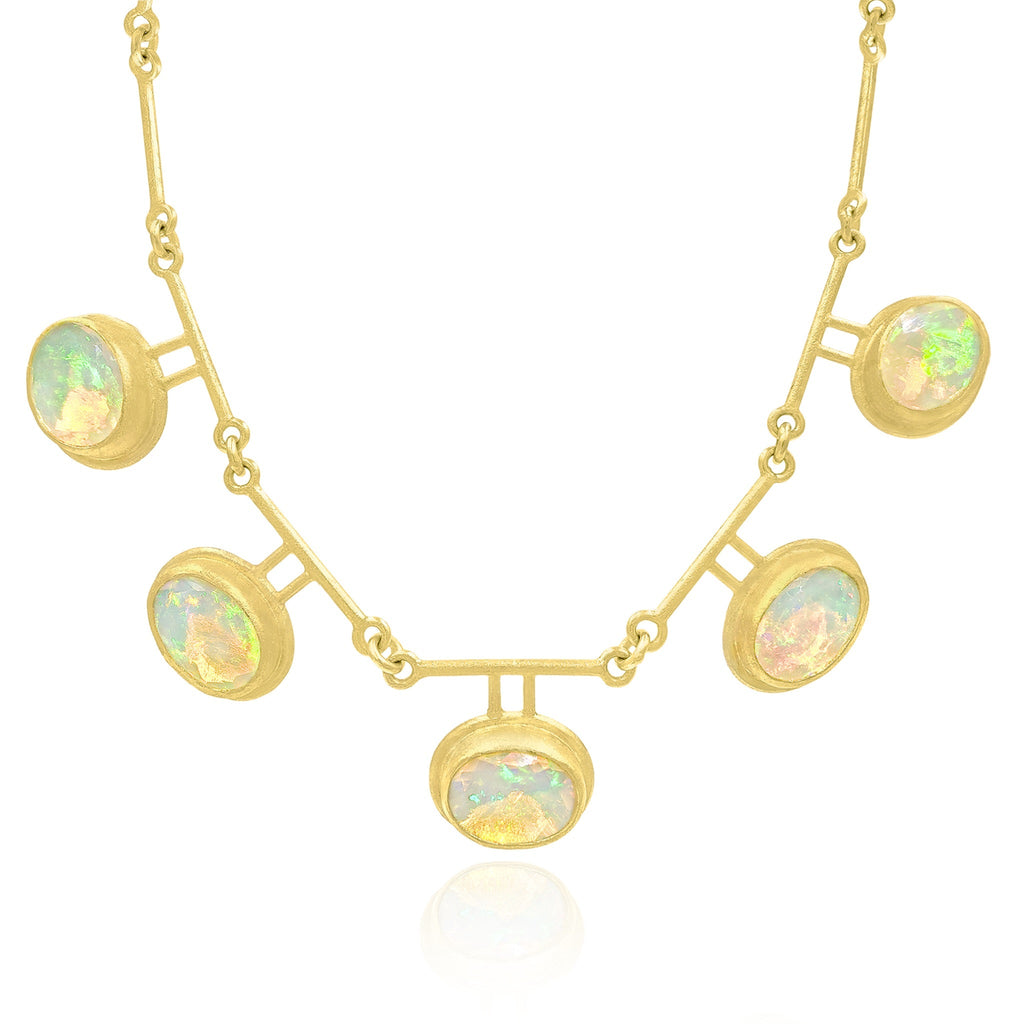 Petra Class Fiery Faceted Ethiopian Opal One-of-a-Kind Double Segment Necklace - Szor Collections