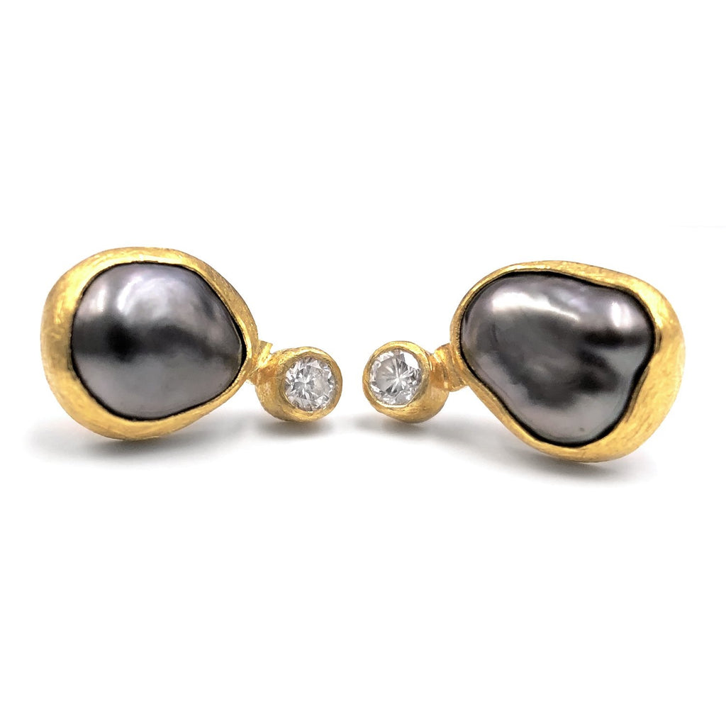 Petra Class Tahitian Keshi Pearl White Diamond Handmade Double Stud Earrings - Szor Collections
