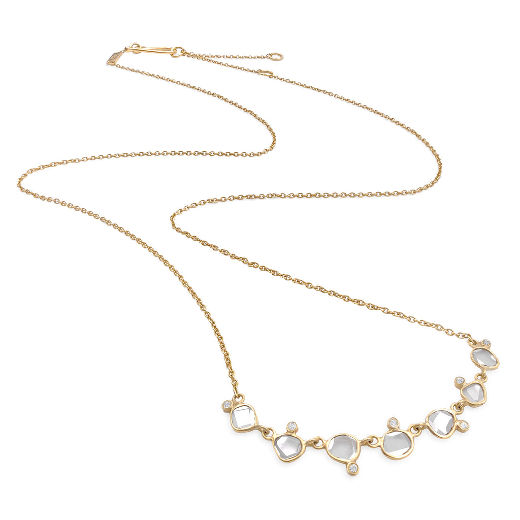 Kothari Polki Diamond Brilliant-Cut Diamond Matte Gold Curved Bar Necklace - Szor Collections
