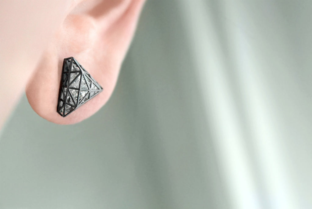 Roule and Co. Loose White Topaz Black Gold Triangle Shaker Earrings - Szor Collections
