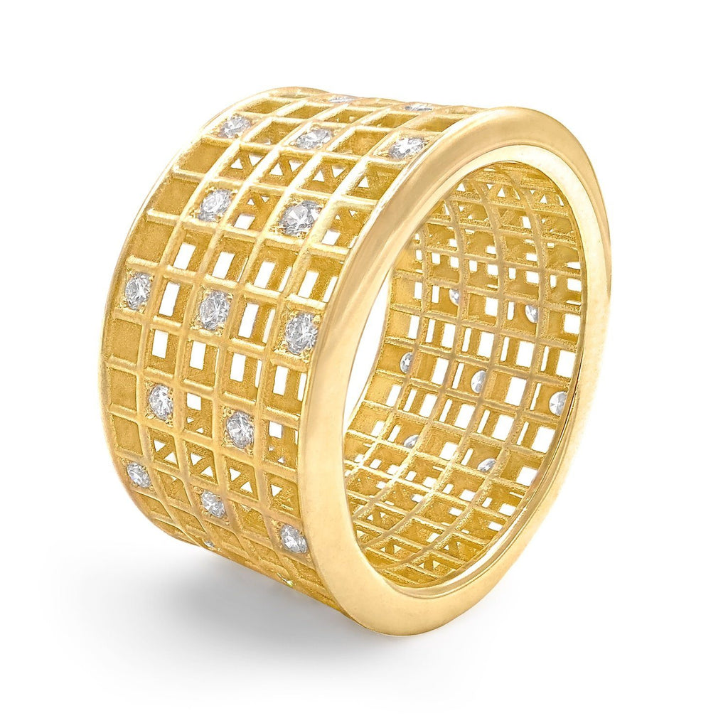 Roule and Co. White Diamond Gold Five-Row Open Pixel Dust Band Ring - Szor Collections