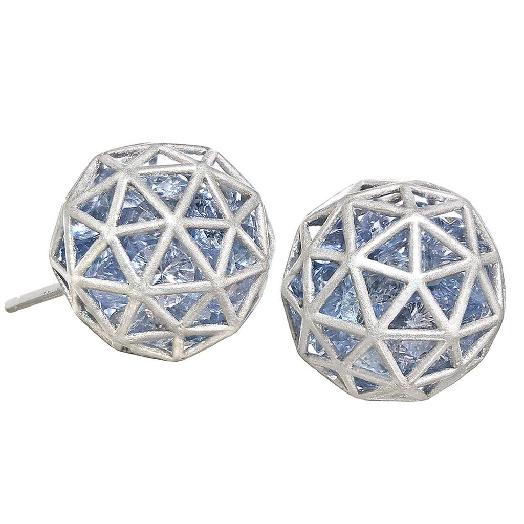 Roule and Co. Loose Blue Sapphire White Gold Large Shaker Stud Earrings - Szor Collections
