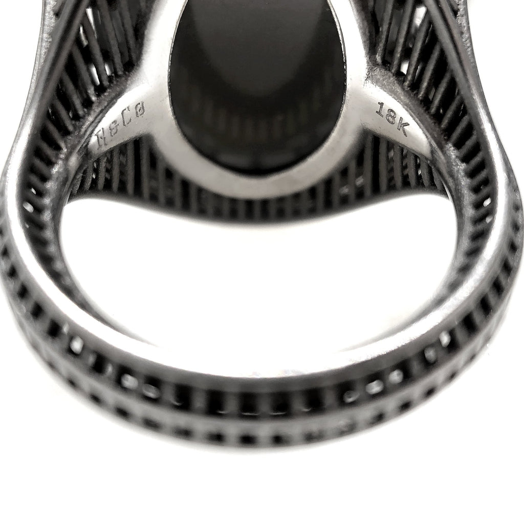 Roule and Co. One of a Kind Gray Moonstone Color-Change Garnet Black Gold Ring - Szor Collections