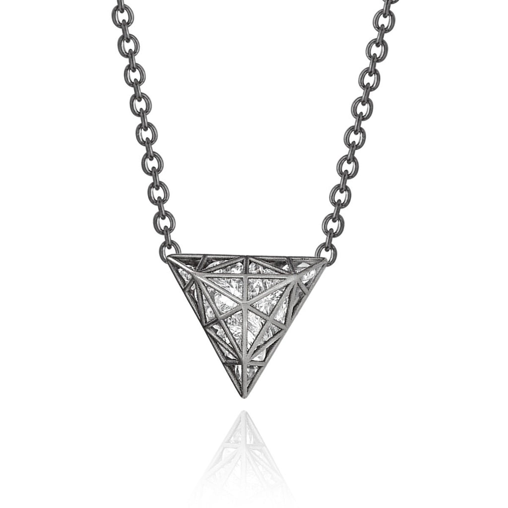 Roule and Co. Loose White Topaz Black Gold Triangle Shaker Necklace (Special Order) - Szor Collections