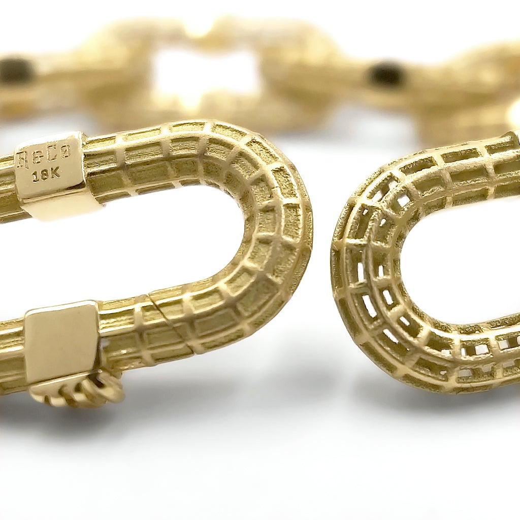 Roule and Co. Matte and Polished Yellow Gold Signature Links Bracelet - Szor Collections