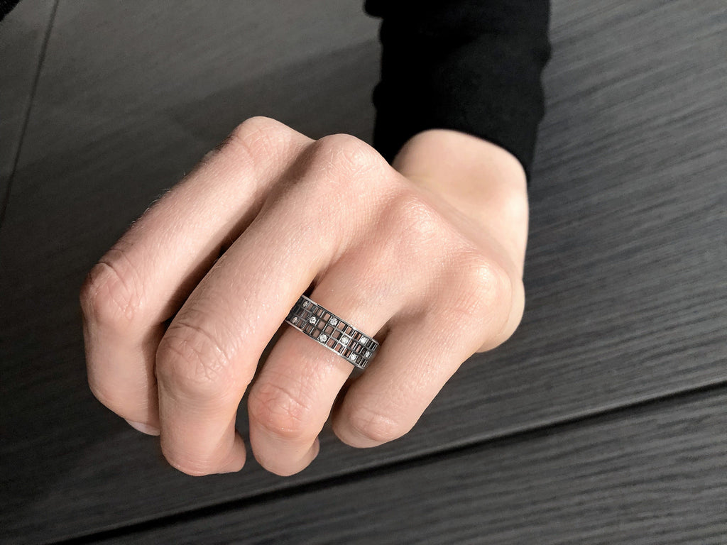 Roule and Co. White Diamond Black Gold Three-Row Open Pixel Dust Band Ring - Szor Collections