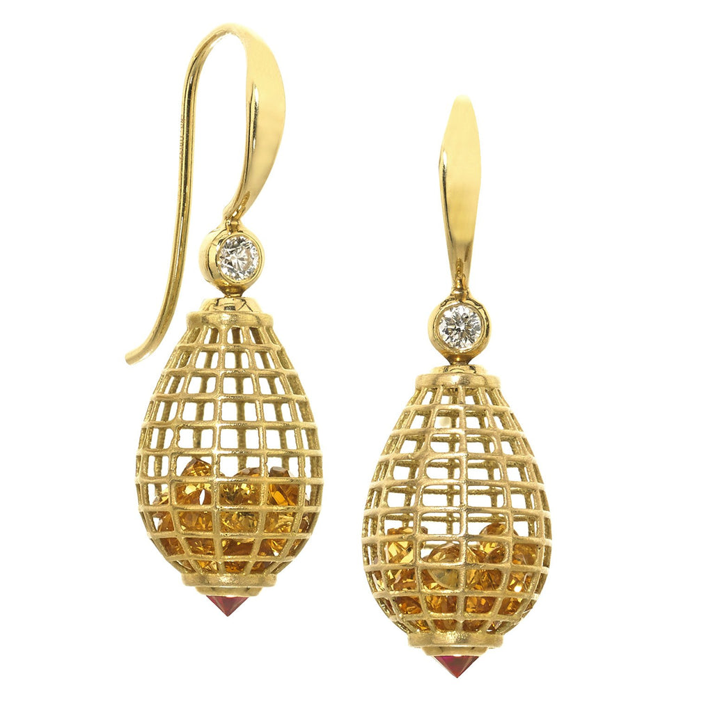 Szor Collections - Roule and Co. Honey Citrine Inverted Ruby Diamond gold Shaker Drop Earrings - Szor Collections - 1