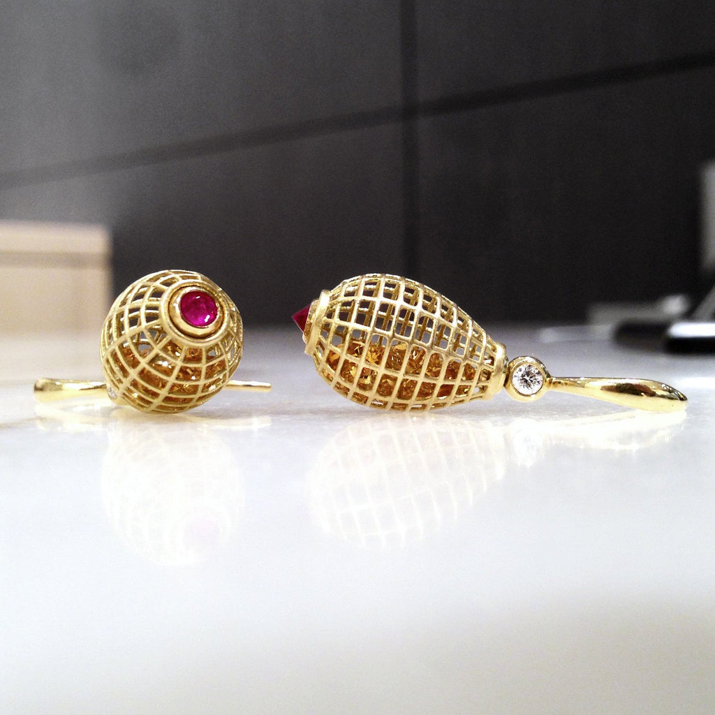 Szor Collections - Roule and Co. Honey Citrine Inverted Ruby Diamond gold Shaker Drop Earrings - Szor Collections - 5