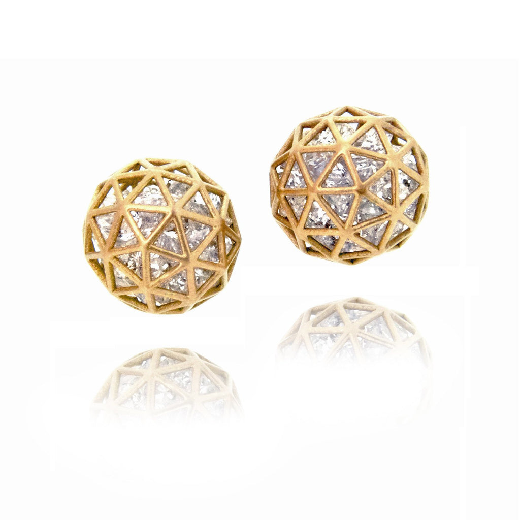 Roule and Co. Loose White Sapphire Gold Shaker Stud Earrings - Szor Collections