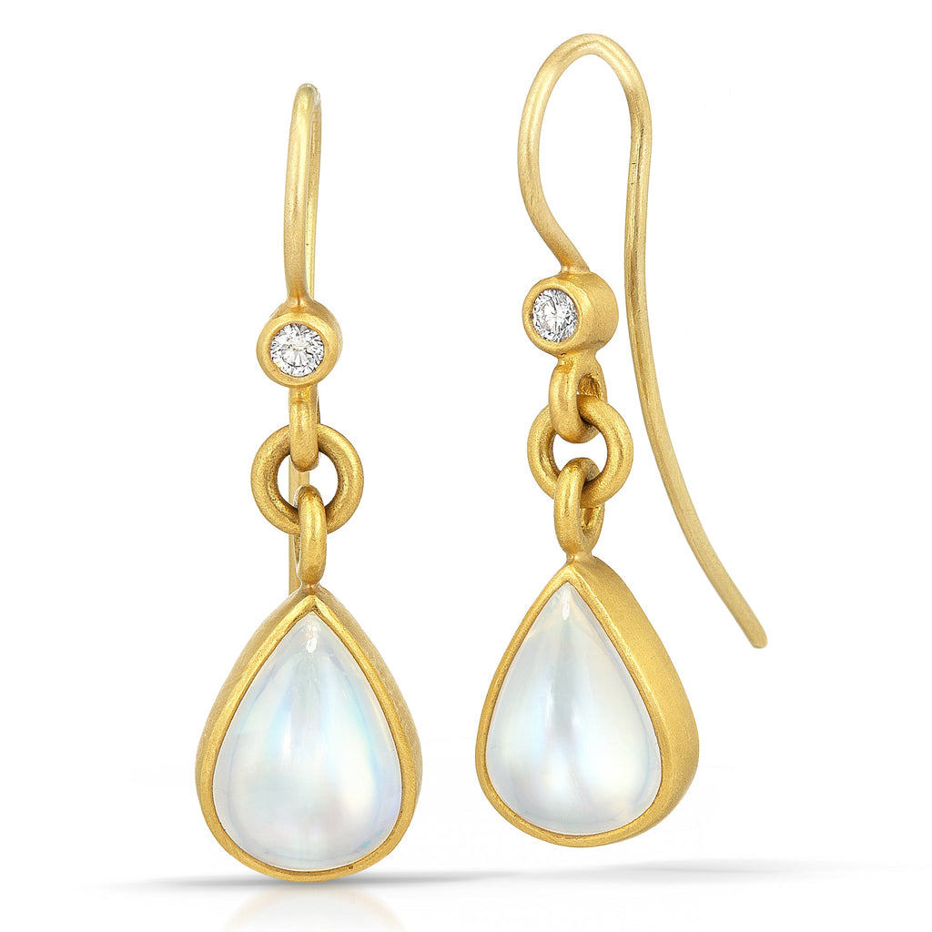 Denise Betesh Blue Moonstone Pear White Diamond Dangle Drop Earrings - Szor Collections