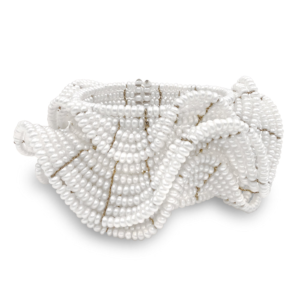 Estyn Hulbert White Pearl Ruffle Flexible Cuff Bracelet - Szor Collections
