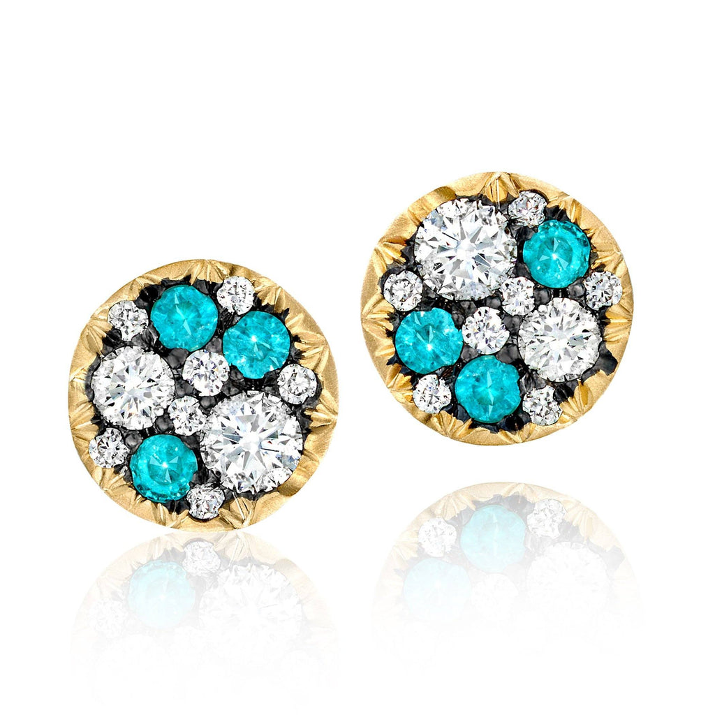 Joke Quick Paraiba Tourmaline Diamond Starstruck Stud Earrings (Special Order) - Szor Collections