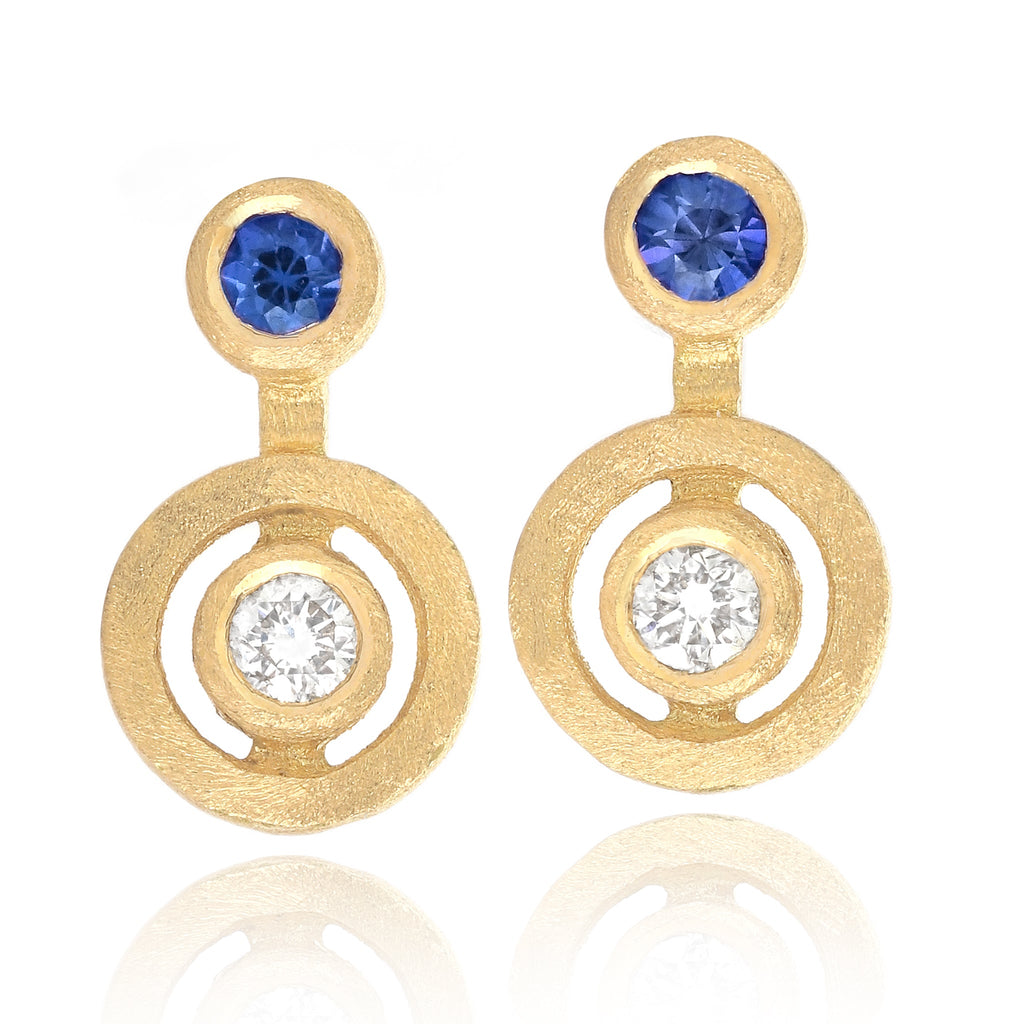 Shimell and Madden Diamond Blue Sapphire Satin Gold Stud Earrings - Szor Collections