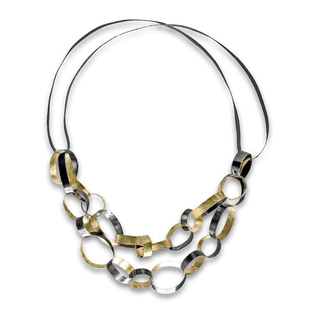 Reiko Ishiyama Linked Rings Silver Gold Handmade Necklace - Szor Collections