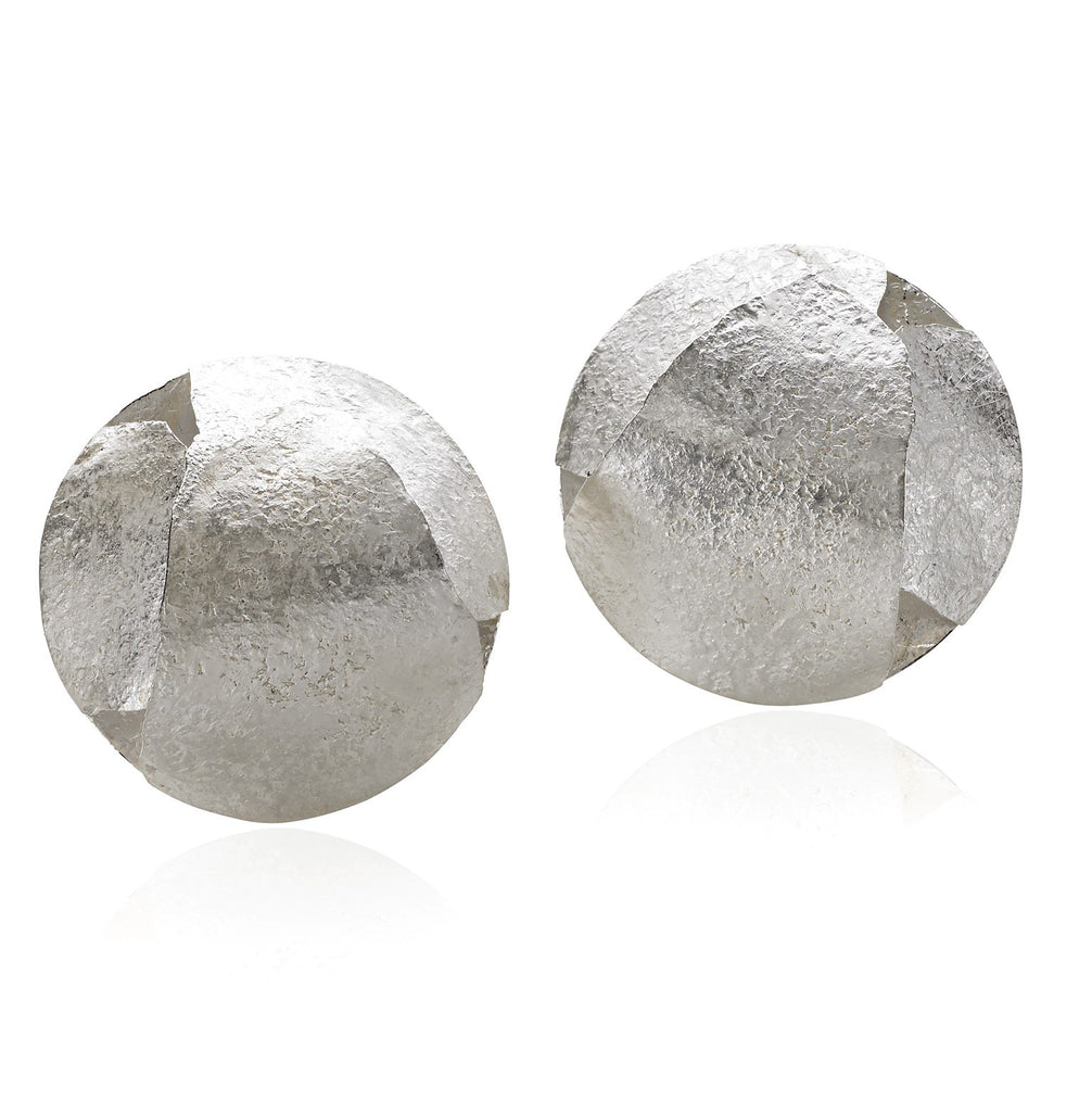 Reiko Ishiyama Bright Silver Triple Sphere Clip Earrings - Szor Collections