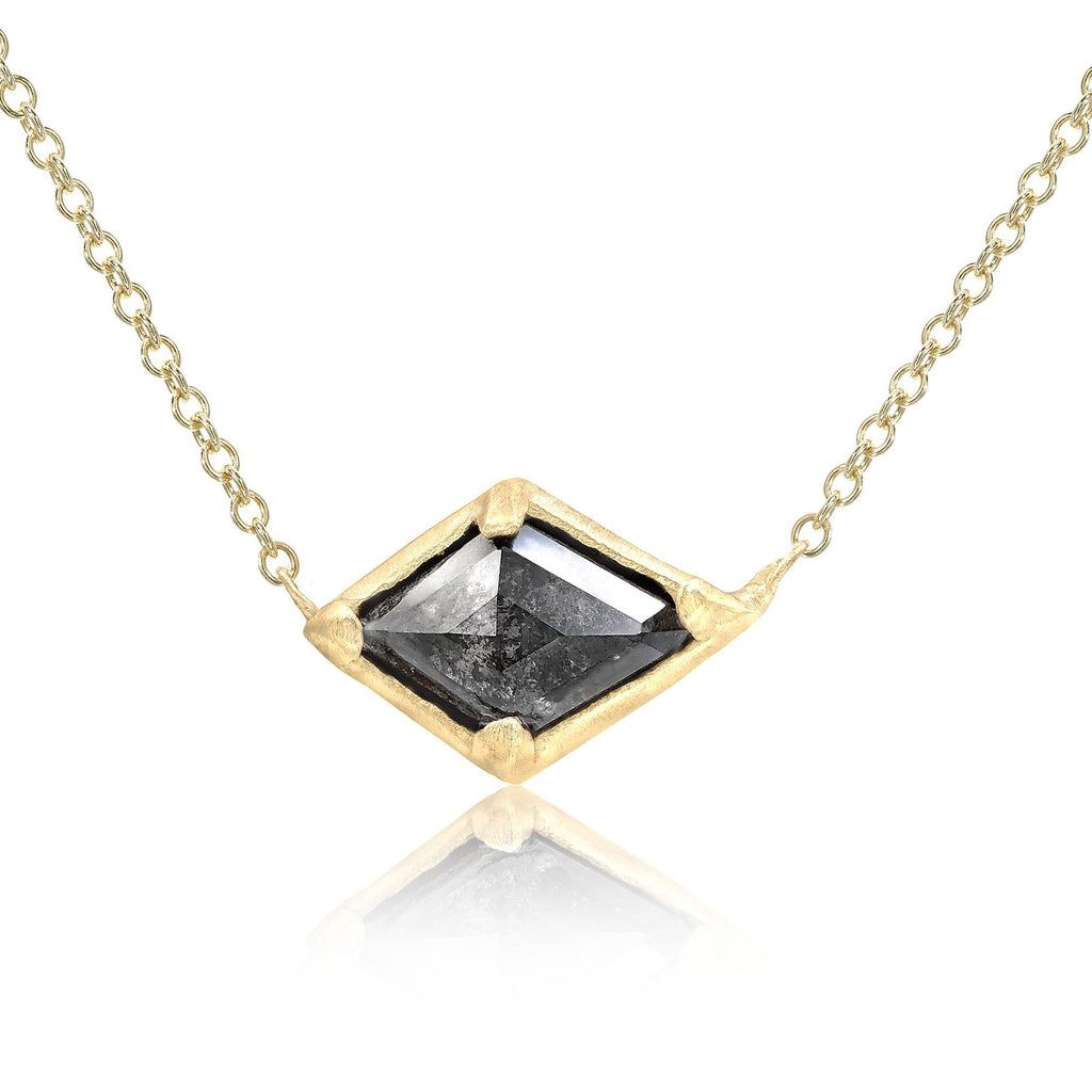 Rebecca Overmann Natural Black Diamond Gold Horizontal Kite Necklace - Szor Collections