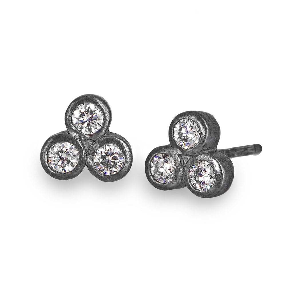 Rebecca Overmann Triple Diamond Oxidized Silver Stud Earrings - Szor Collections