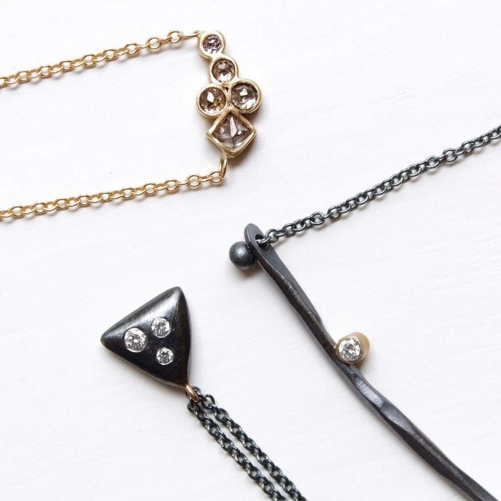 Rebecca Overmann White Diamond Oxidized Silver Smooth Triangle Necklace - Szor Collections