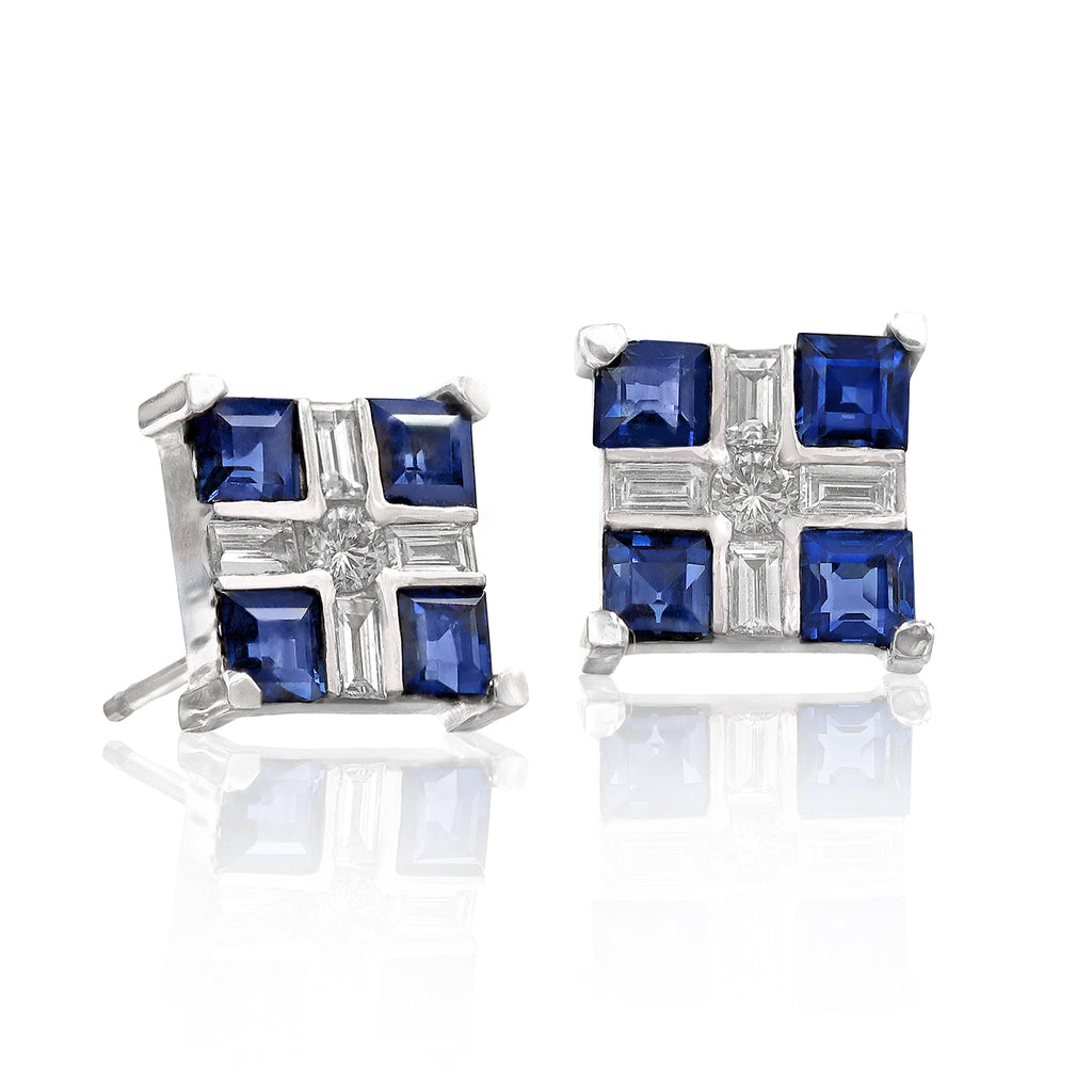 Russell Trusso Baguette Round Diamond Princess Blue Sapphire Stud Earrings - Szor Collections