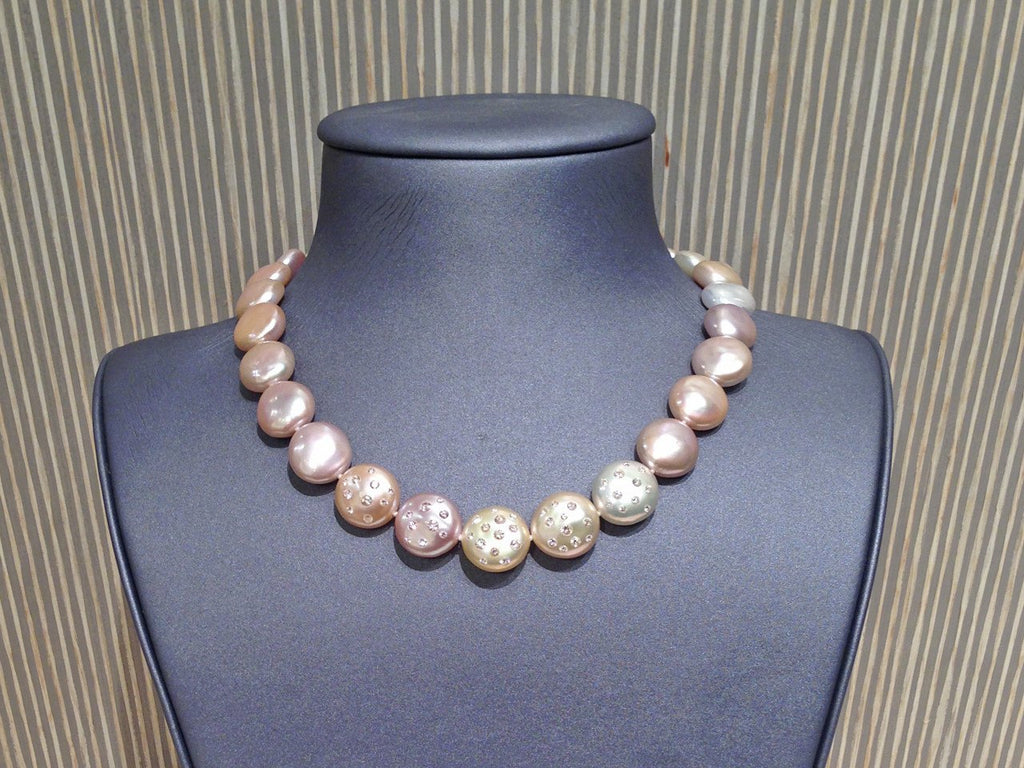 Russell Trusso One of a Kind Graduated Coin Pearl Diamond-Embedded Gold Necklace (Special Order) - Szor Collections