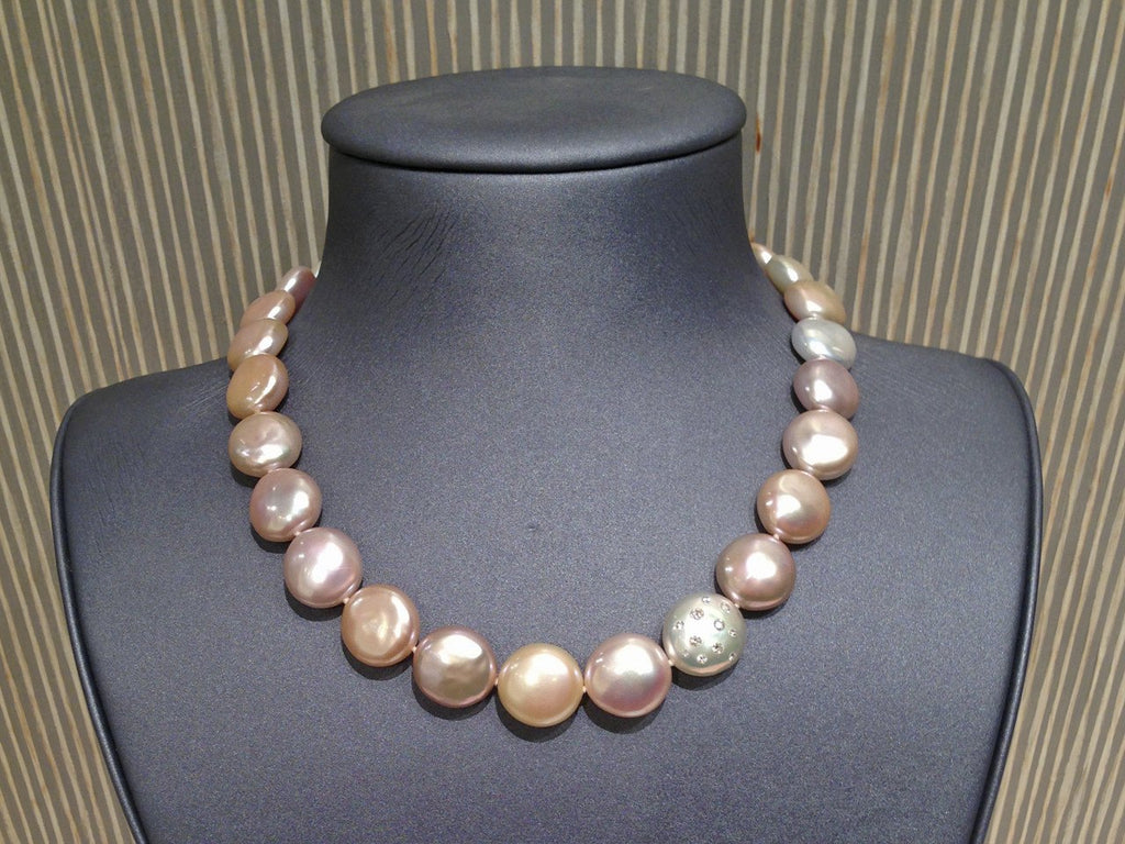 Russell Trusso One of a Kind Graduated Coin Pearl Diamond-Embedded Gold Necklace - Szor Collections