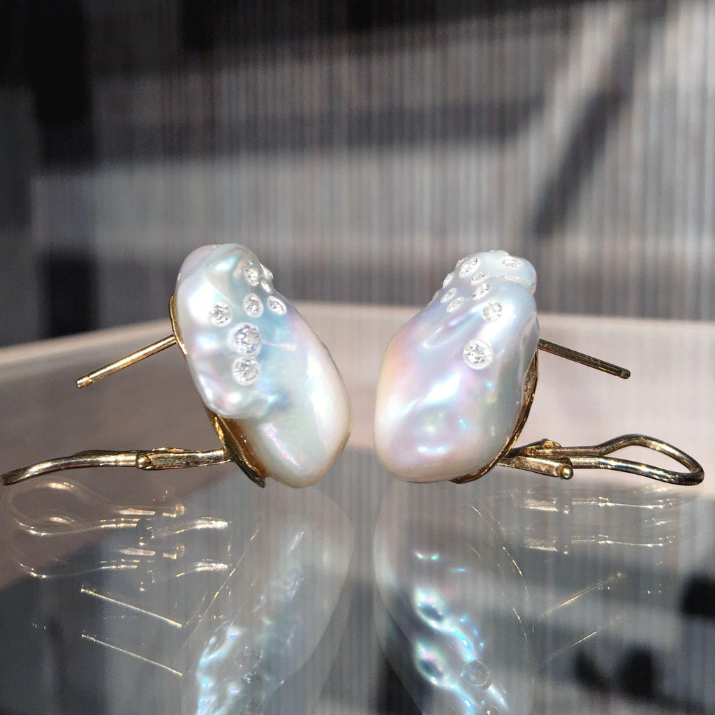 Russell Trusso White Diamond Embedded South Sea Baroque Pearl Earrings - Szor Collections
