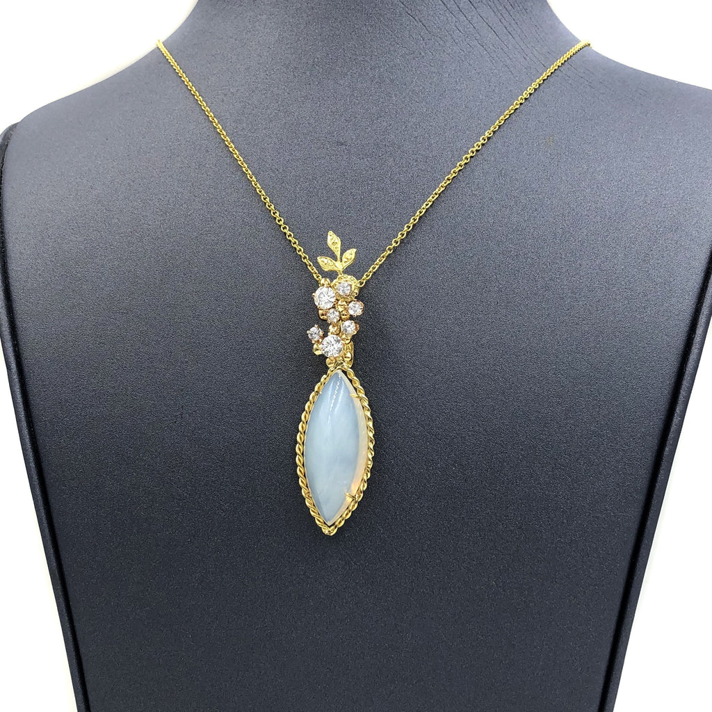 Russell Trusso Glowing Marquise Agate Chalcedony White Sapphire Gold Necklace - Szor Collections