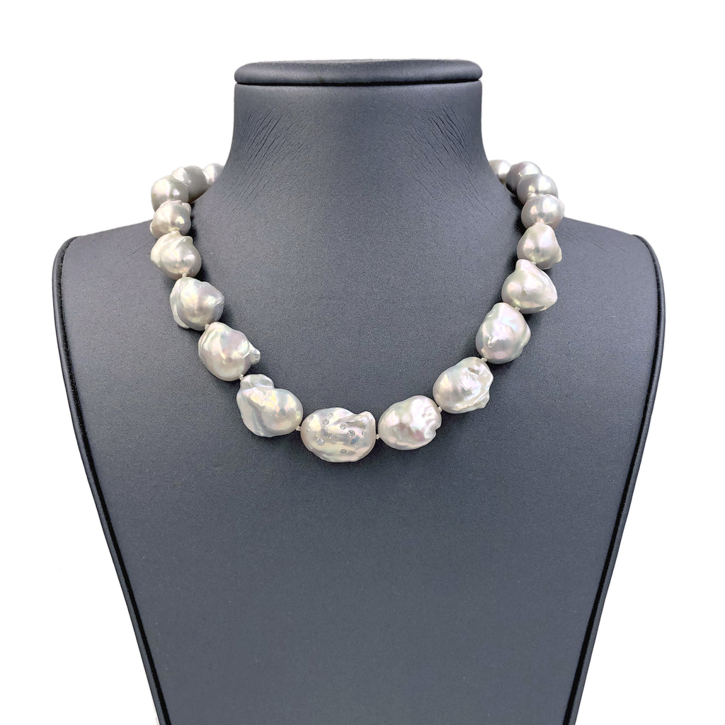 Russell Trusso White Diamond Rainbow White Freshwater Pearl Strand Necklace  (Special Order) - Szor Collections