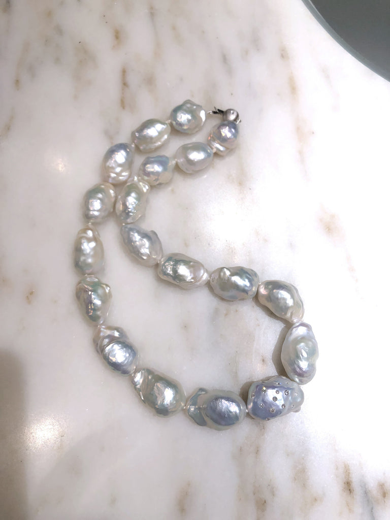 Russell Trusso White Diamond Rainbow White Freshwater Pearl Strand Necklace
