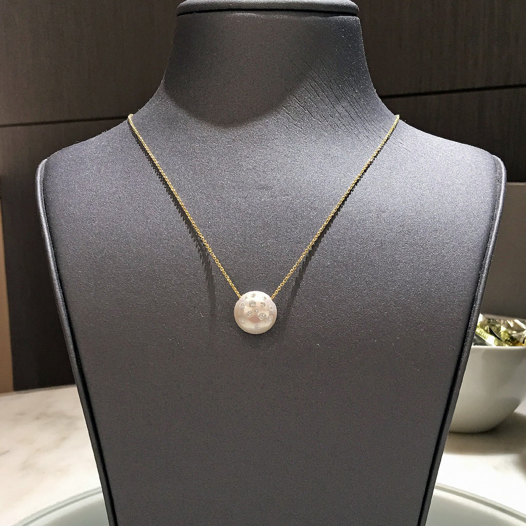 Russell Trusso White Diamond Embedded Freshwater Pearl Pendant Necklace - Szor Collections