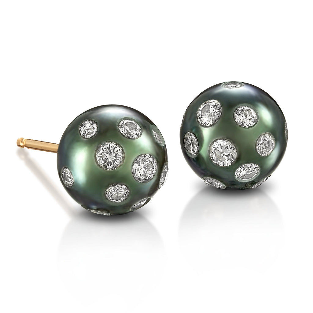 Russell Trusso Blue Tahitian Pearl Diamond Embedded Stud Earrings (Special Order) - Szor Collections