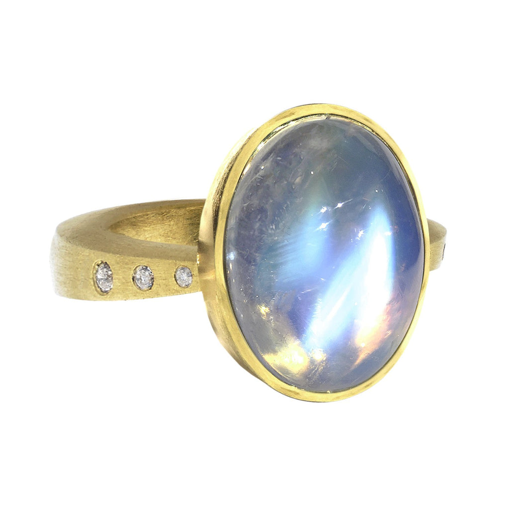 Robin Waynee Oval Rainbow Moonstone Diamond Gold Button Ring - Szor Collections