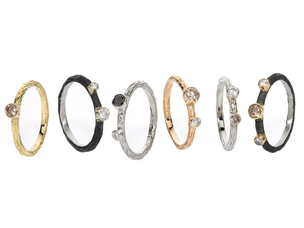 Sarah Graham Assorted Diamond Gold Steel Stacking Rings - Szor Collections
