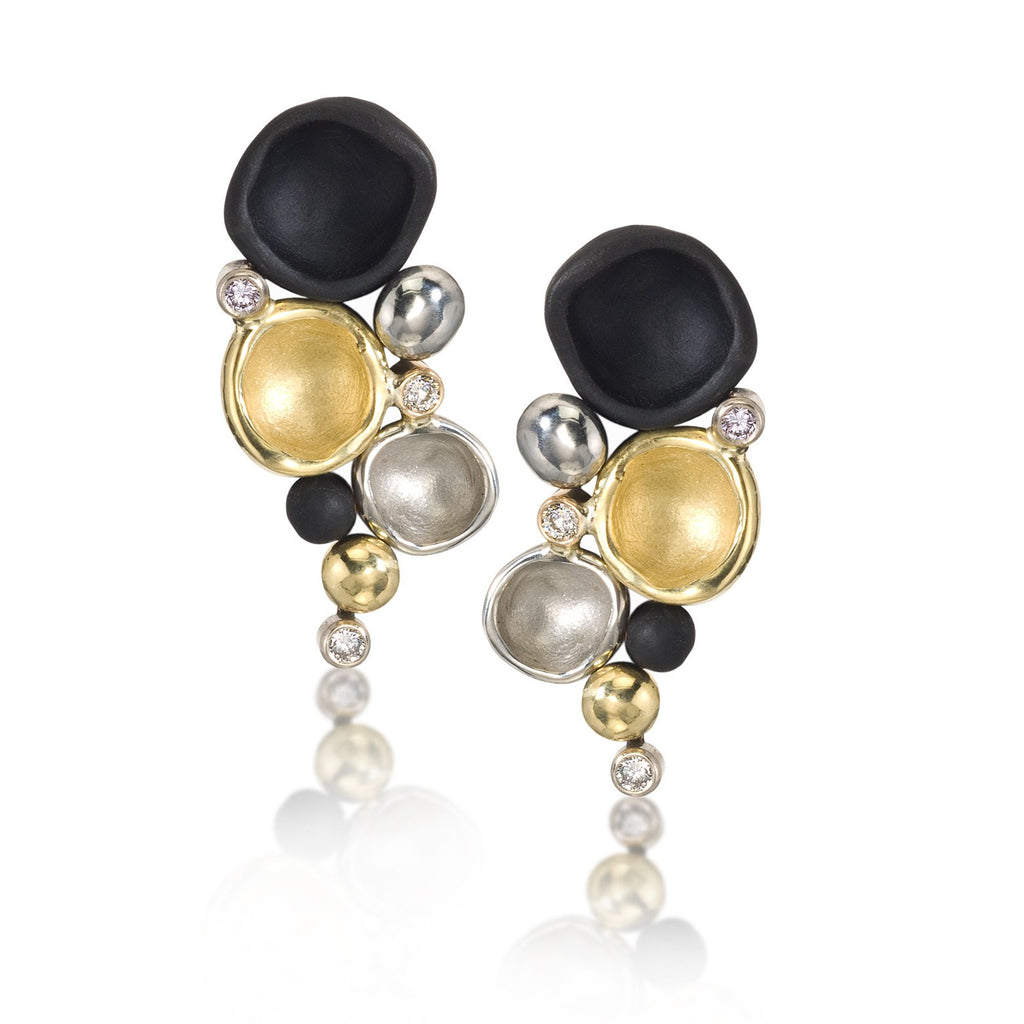 Sarah Graham Diamond Gold Steel Confluence Cluster Earrings - Szor Collections