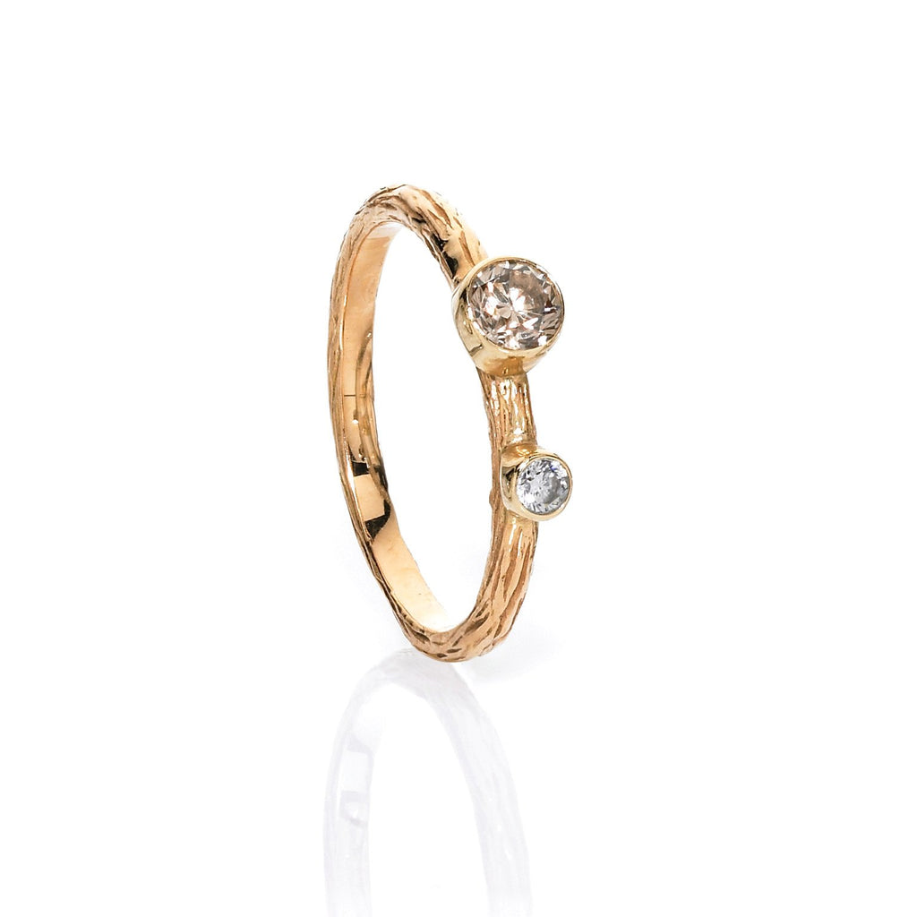Sarah Graham Assorted Diamond Gold Steel Stacking Rings - Szor Collections - 4