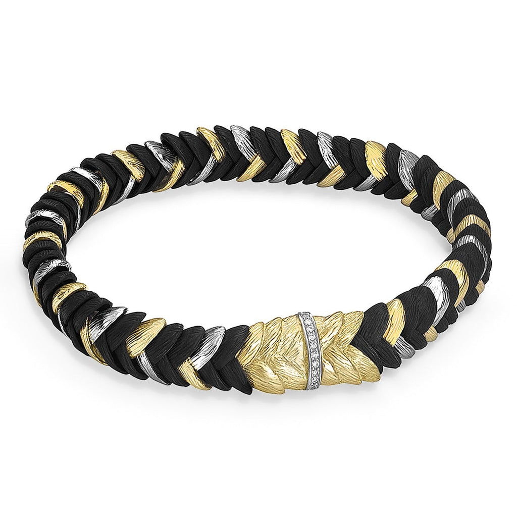 Sarah Graham White Diamond Gold Cobalt Chrome Rattlesnake Grass Bracelet - Szor Collections