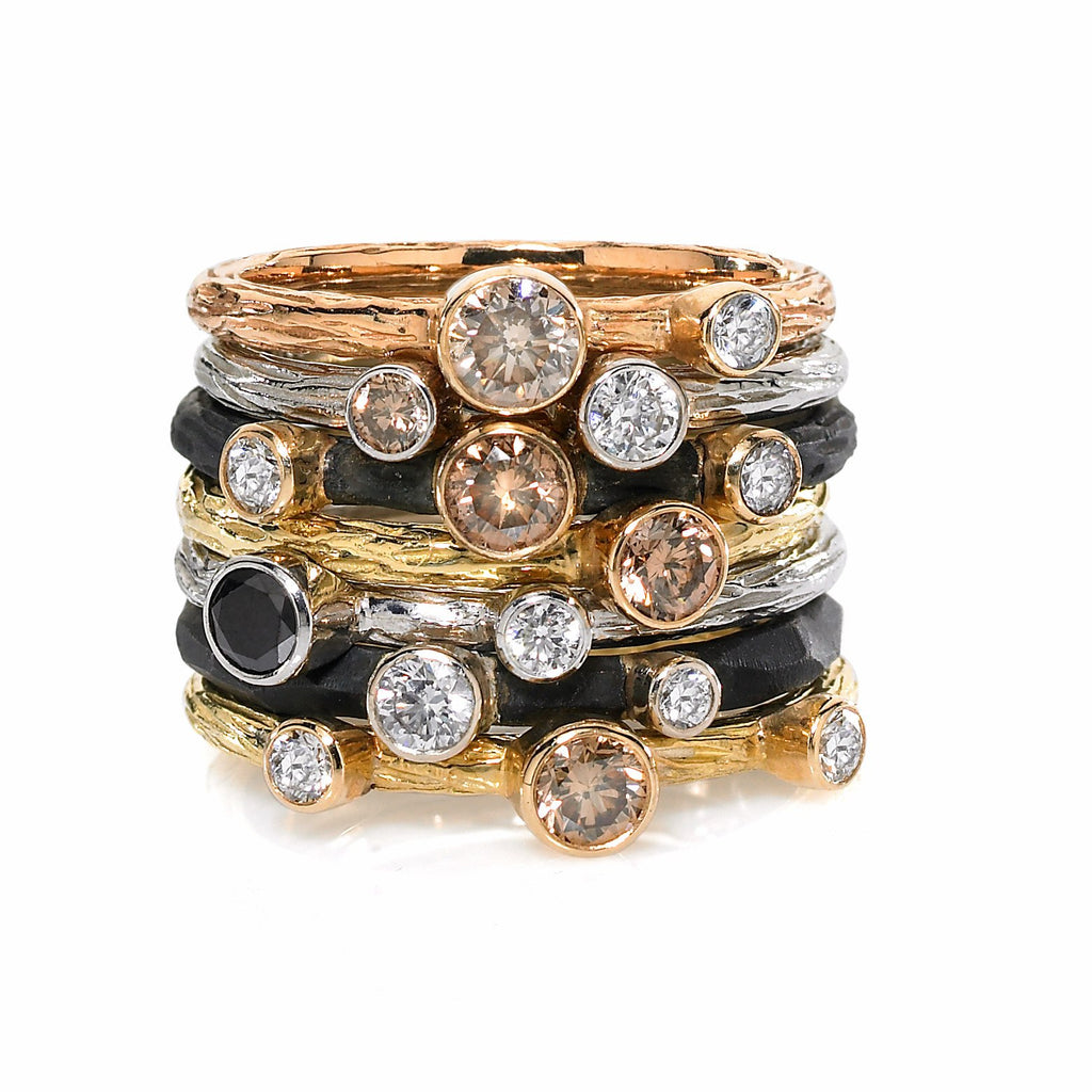 Sarah Graham Assorted Diamond Gold Steel Stacking Rings - Szor Collections - 1