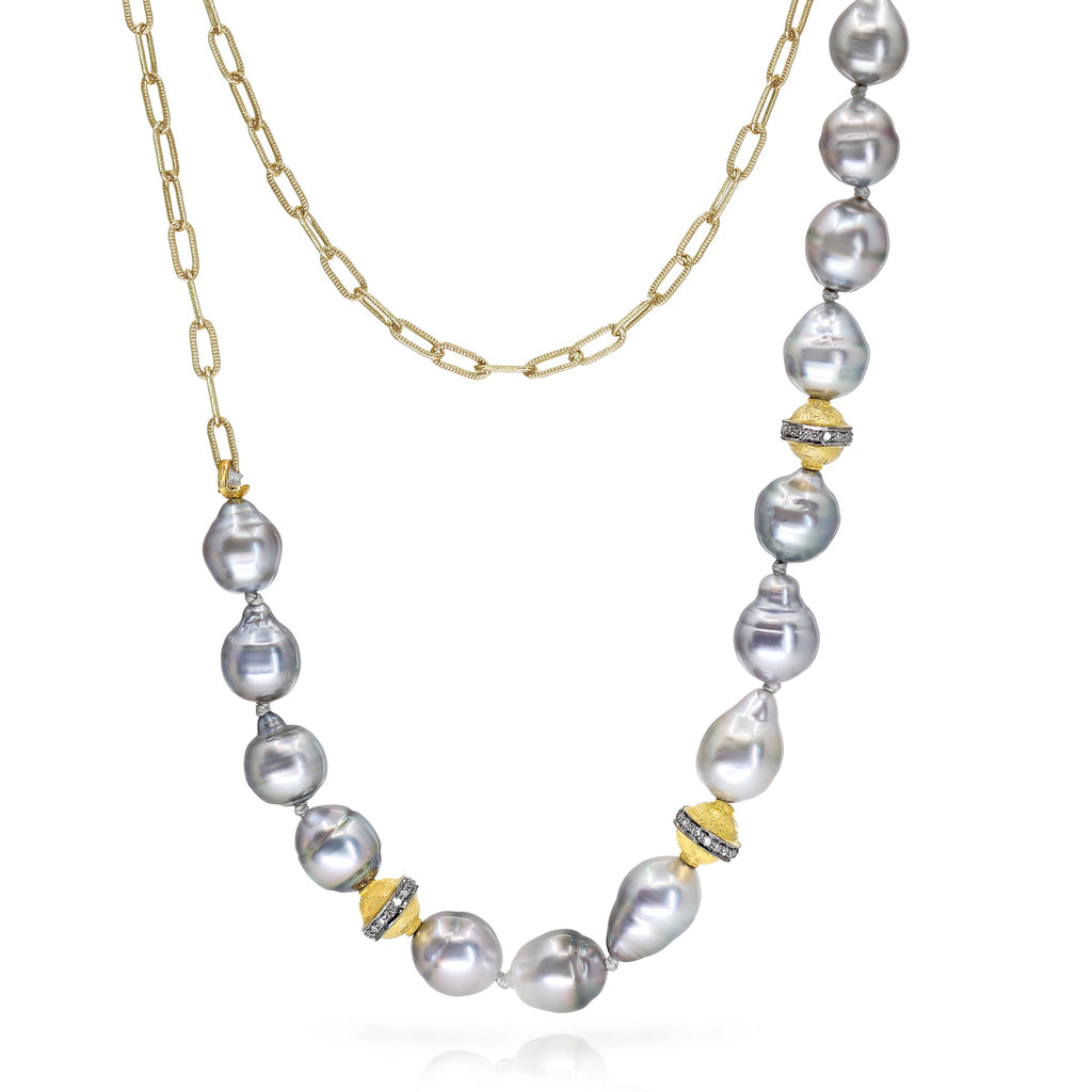 Just Jules Tahitian Baroque Pearl Diamond Gold Necklace and Wrap Bracelet - Szor Collections