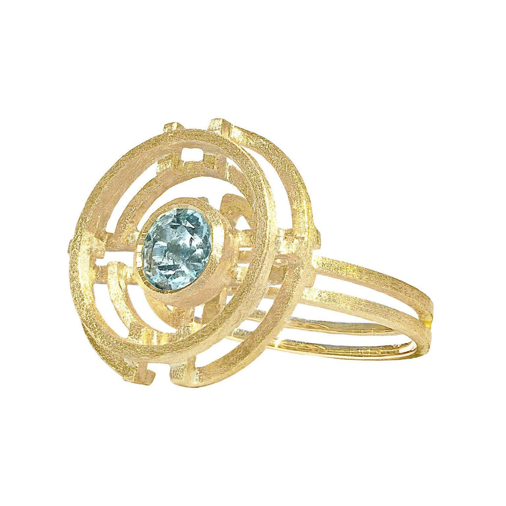 Shimell & Madden Aquamarine Five Circle Ring