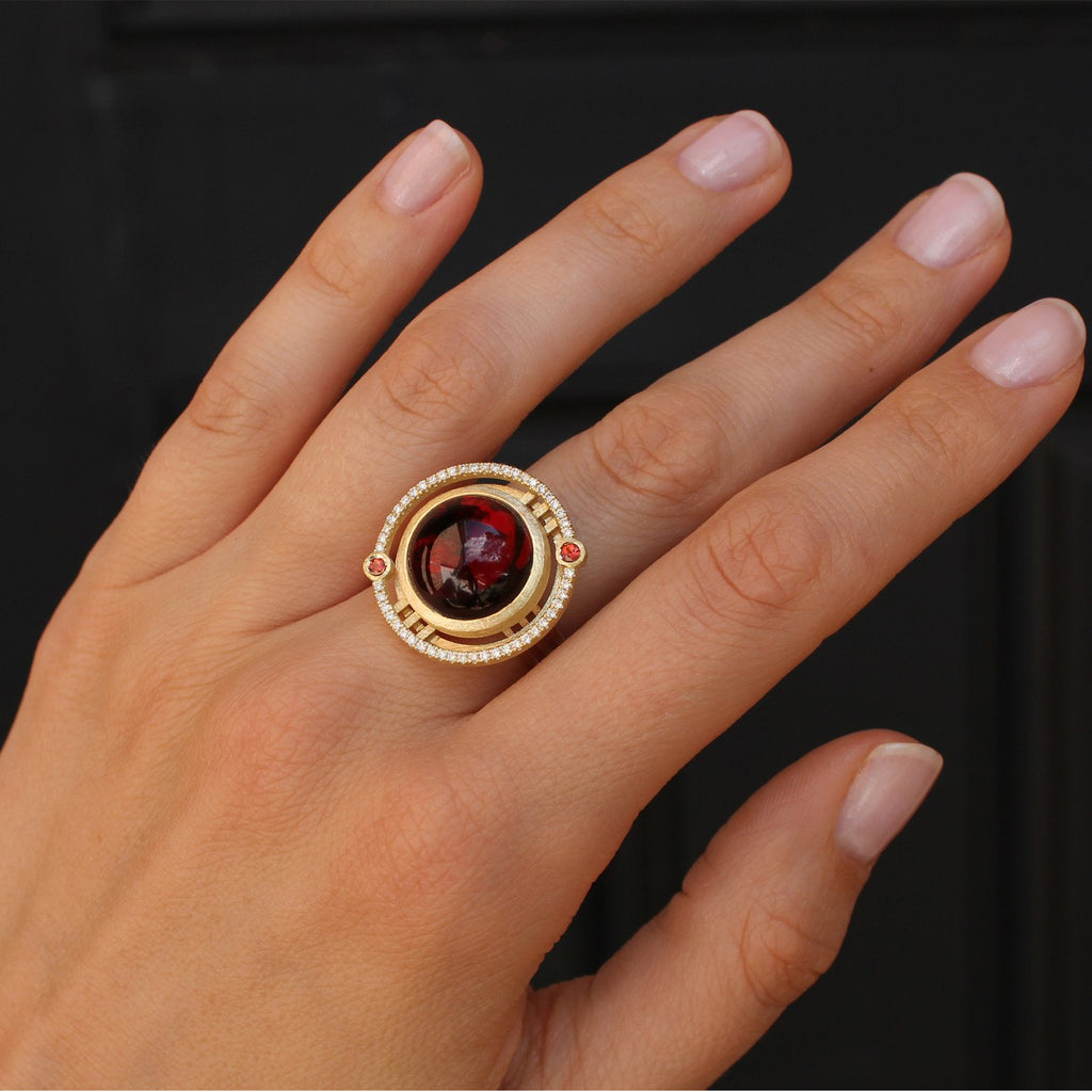 Shimell and Madden One of a Kind Garnet Sapphire Diamond Handmade Ring - Szor Collections - 2