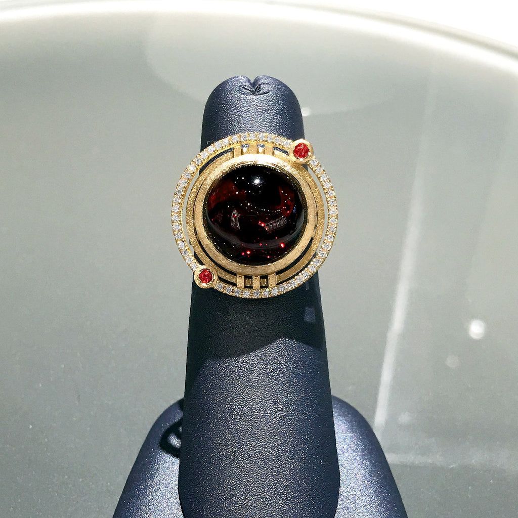 Shimell and Madden One of a Kind Garnet Sapphire Diamond Handmade Ring - Szor Collections