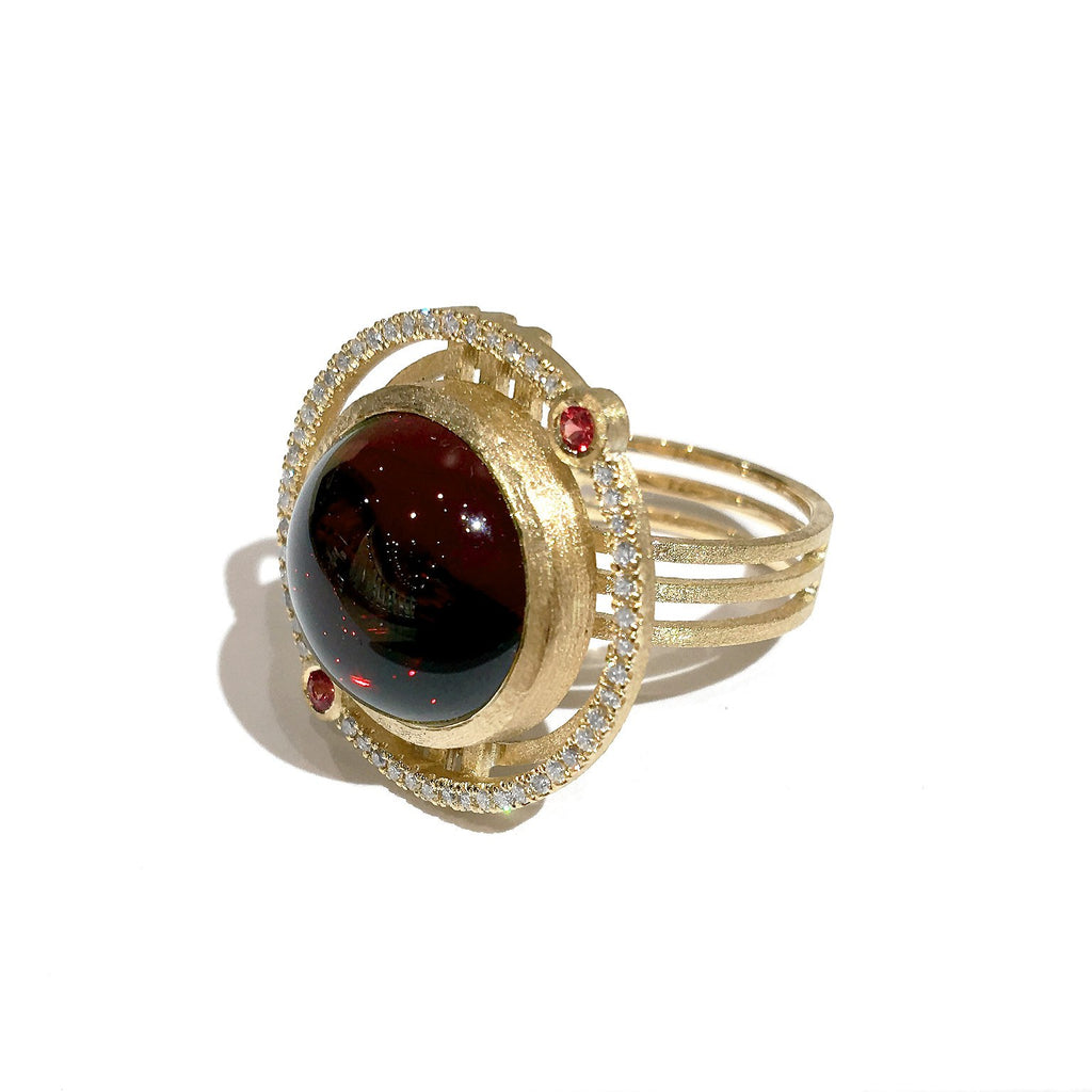 Shimell and Madden One of a Kind Garnet Sapphire Diamond Handmade Ring - Szor Collections - 4