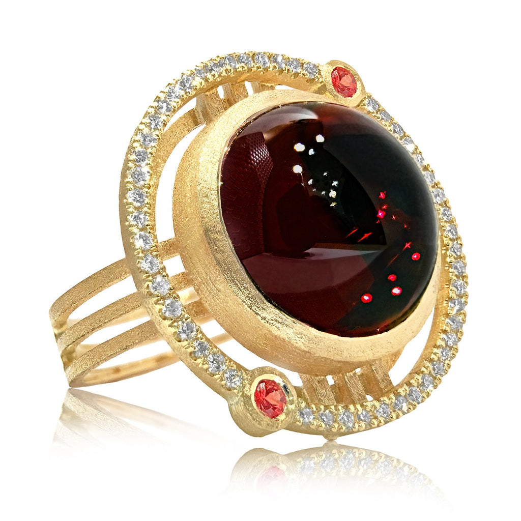 Shimell and Madden One of a Kind Garnet Sapphire Diamond Handmade Ring - Szor Collections - 1