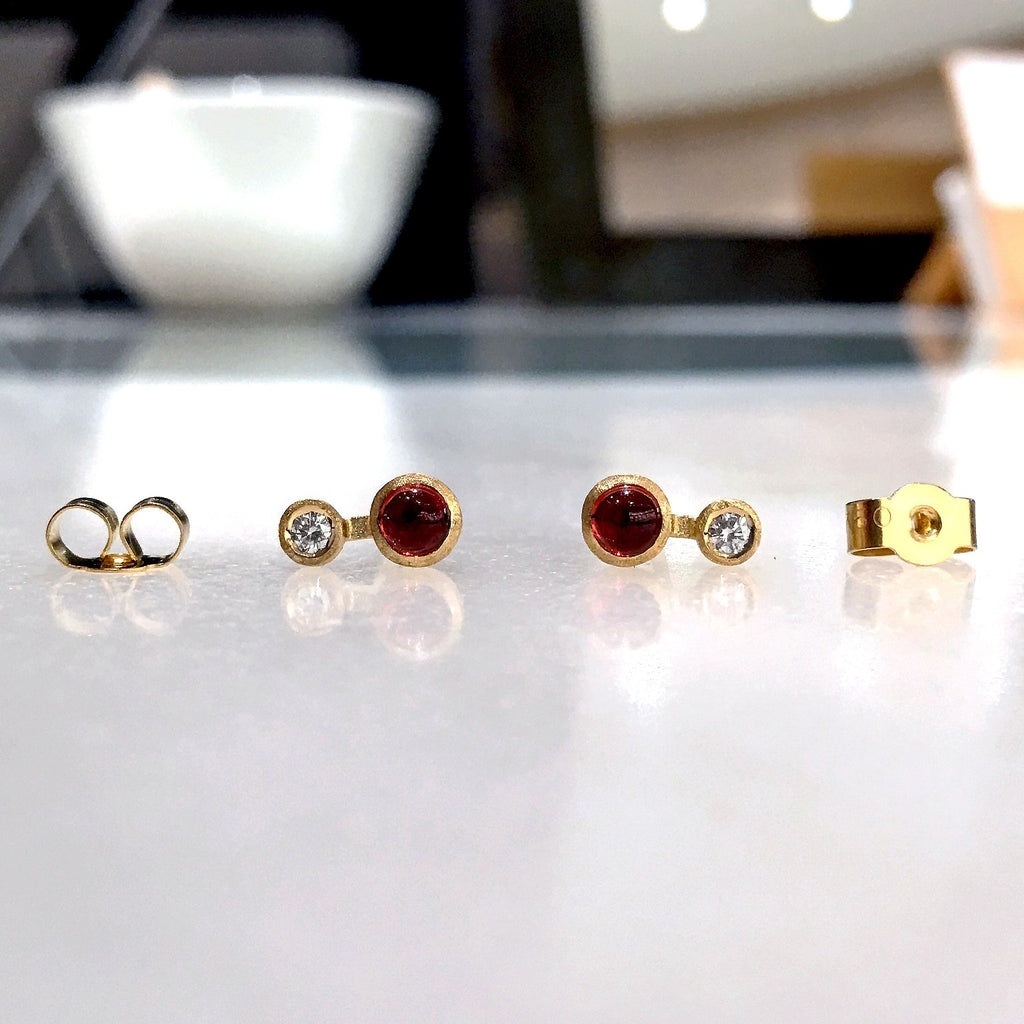 Shimell and Madden Glowing Garnet White Diamond Handmade Nova Stud Earrings - Szor Collections - 2