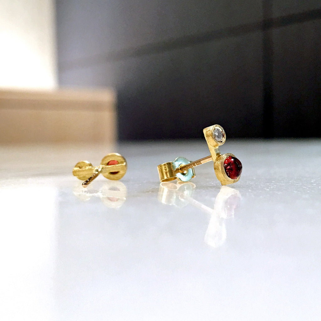 Shimell and Madden Glowing Garnet White Diamond Handmade Nova Stud Earrings - Szor Collections - 3
