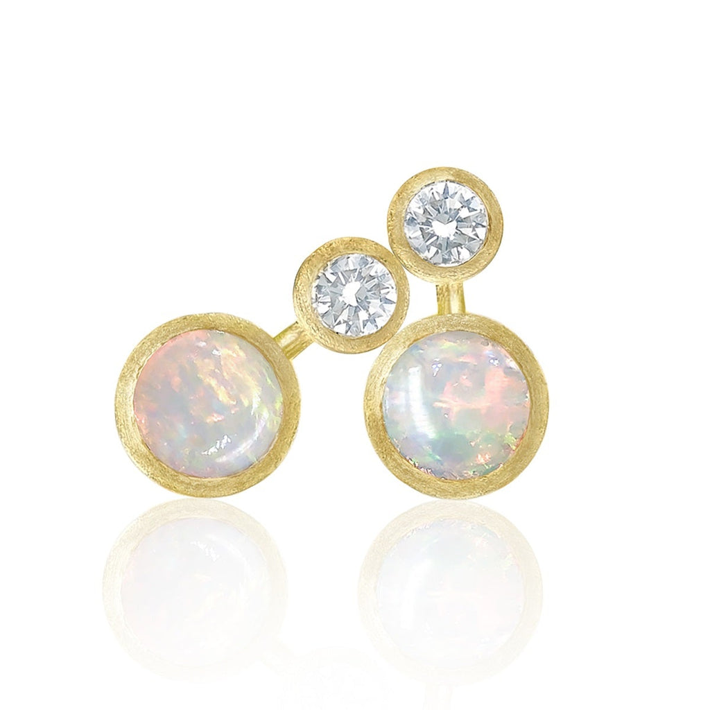 Shimell and Madden Australian Opal Diamond Gold Nova Petite Stud Earrings (Special Order) - Szor Collections
