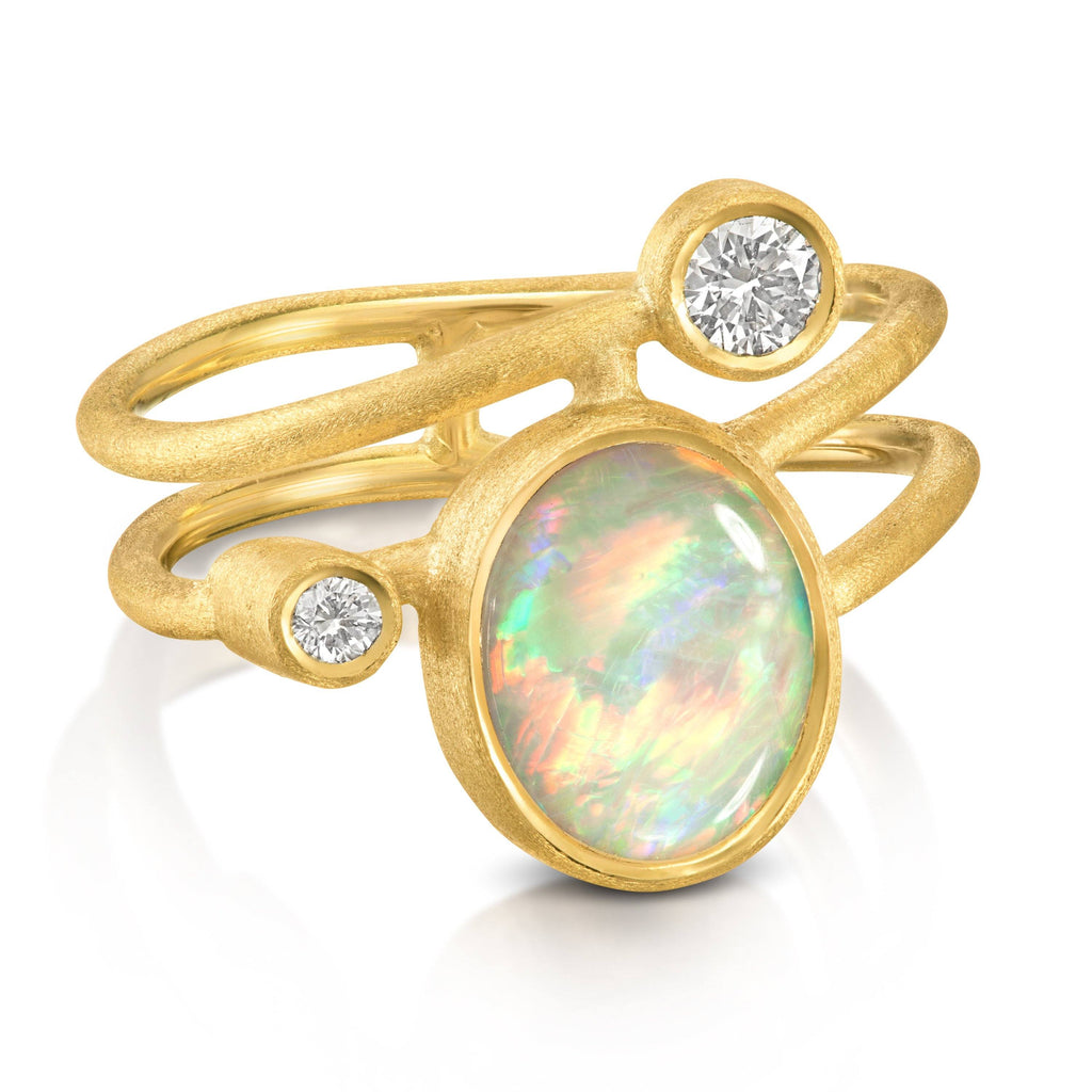 Shimell & Madden Australian Opal Diamond Gold Gamma Ellipse Ring - Szor Collections