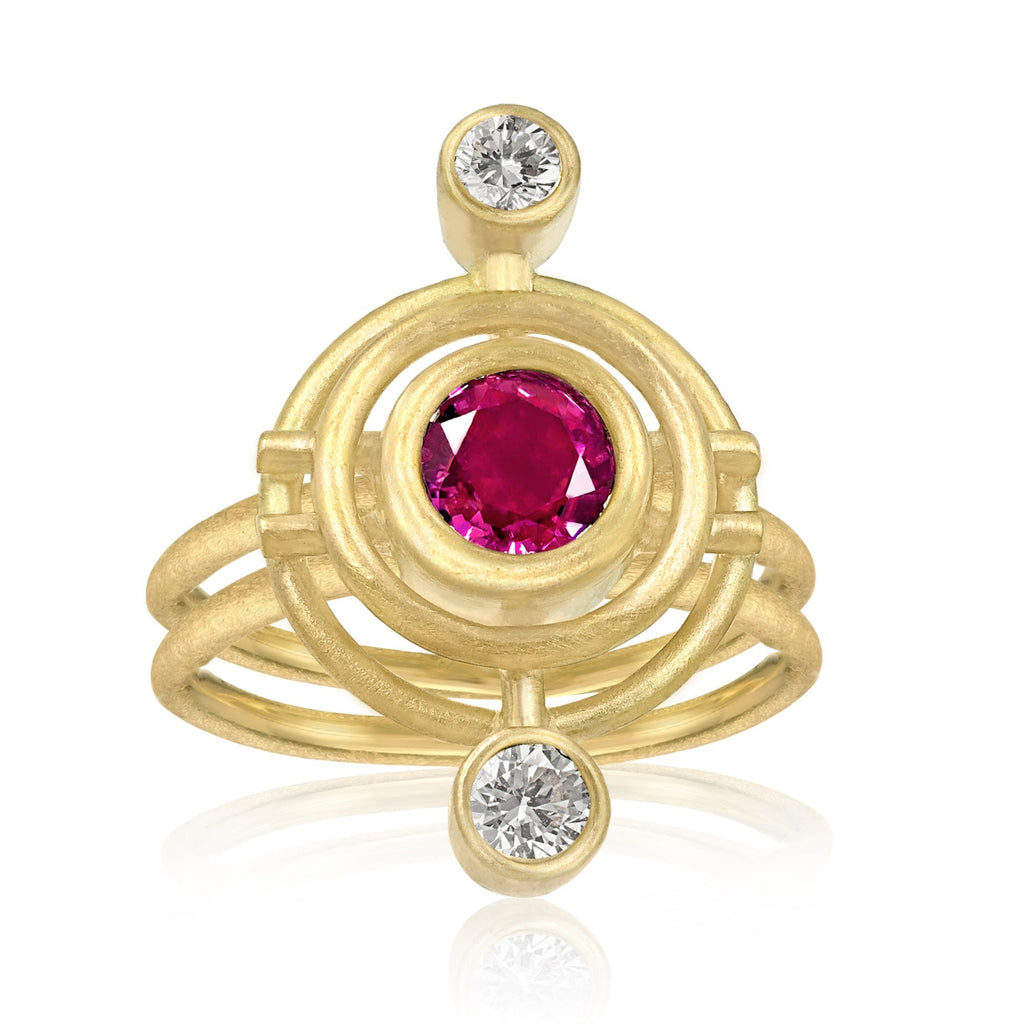 Shimell & Madden Pink Sapphire White Diamond One of a Kind Double Circle Galaxy Ring - Szor Collections