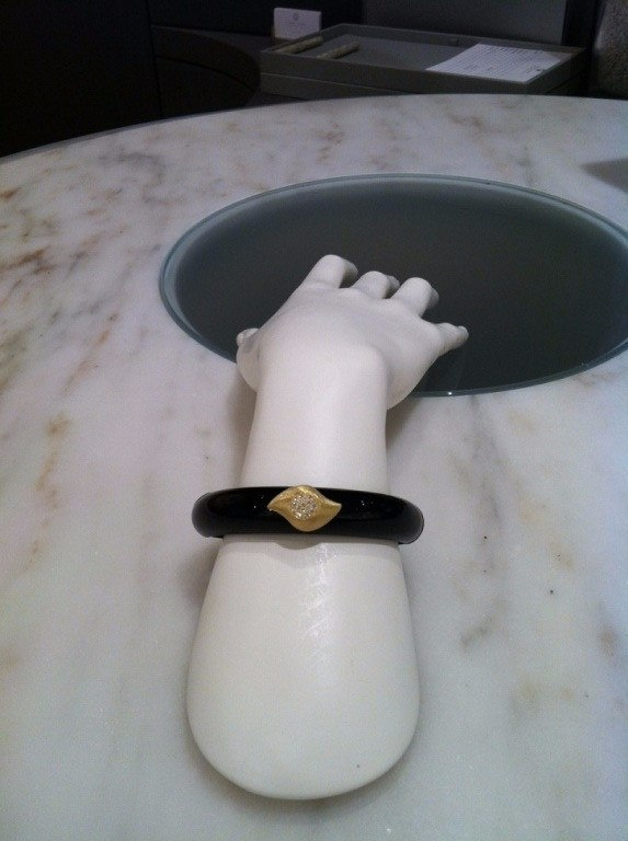 Susan Sadler Magnetic Black Bakelite Diamond Gold Insight Cuff Bracelet - Szor Collections